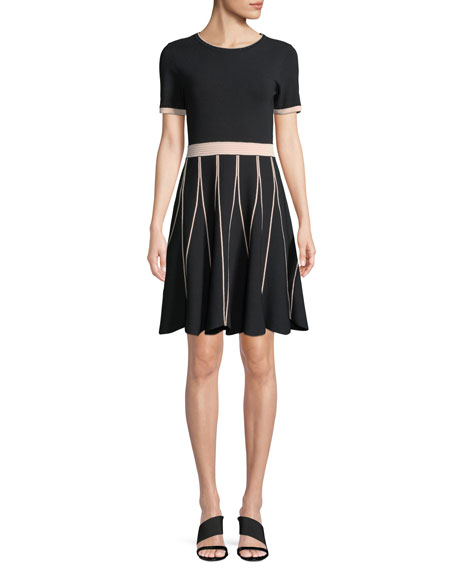 TINSLEY PIPED KNIT FIT-AND-FLARE DRESS