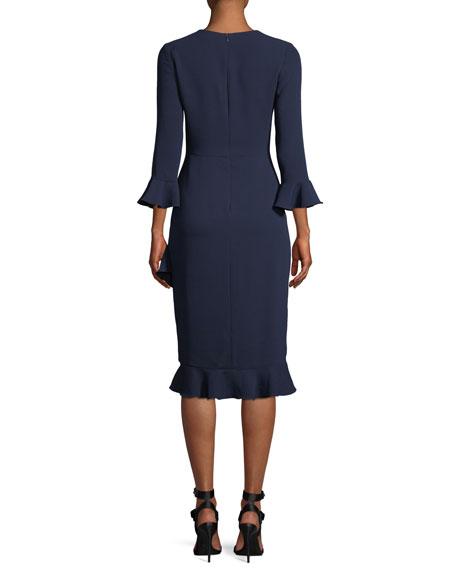 Karr Trumpet-Sleeve A-Line Crepe Dress