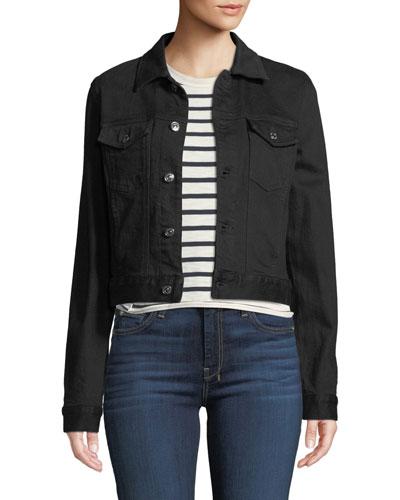 Cropped Denim Jacket with Beaded Fringe
