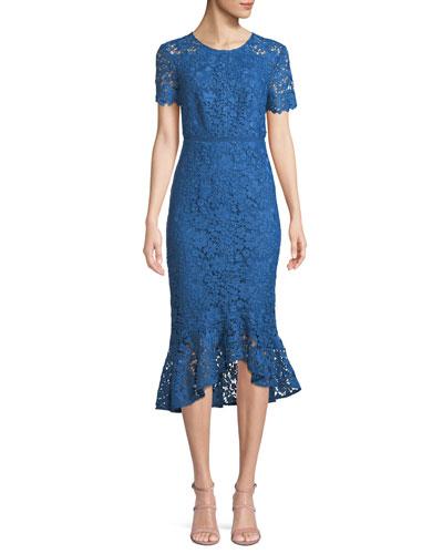 Edgecombe Bodycon Lace Dress w/ High-Low Hem
