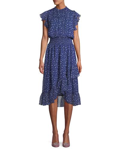 Kinne Shirred Floral Print Silk Dress