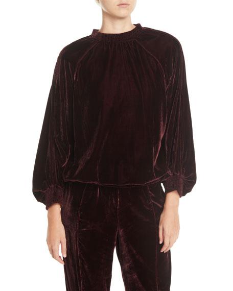 7 FOR ALL MANKIND Velvet Smocked Blouson-Sleeve Pullover Sweater in Dark Red