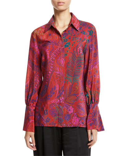 Long-Sleeve Button-Front Floral-Print Silk Blouse