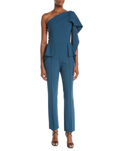 One-Shoulder Drape Peplum-Waist Straight-Leg Cady Jumpsuit