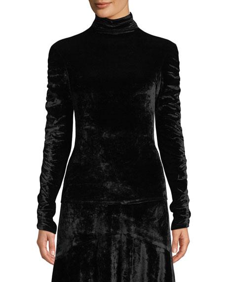 JOSIE NATORI Mock-Neck Ruched Long-Sleeve Velvet Top in Black