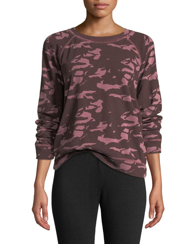 Camo-Print Cotton Raglan Crewneck Top