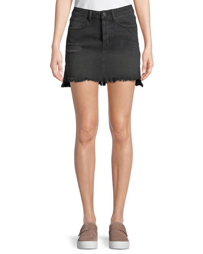 Destroyed Flounce Denim Mini Skirt