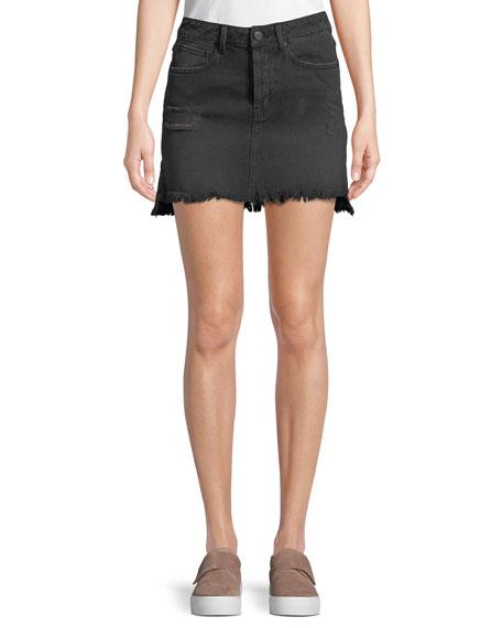 Destroyed Flounce Denim Mini Skirt in Washed Black