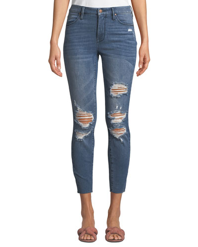 The Push Up Distressed Ripped Cropped Skinny Jeans