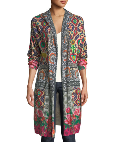 Schell Printed Duster Jacket w/ Hood, Plus Size