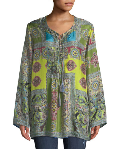 Hana Paisley-Print V-Neck Tassel-Tie Silk Top, Plus Size