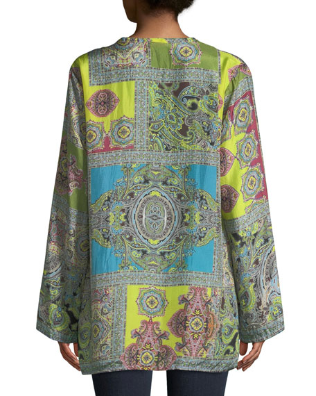 e5611925507 Johnny Was Hana Paisley-Print V-Neck Tassel-Tie Silk Top