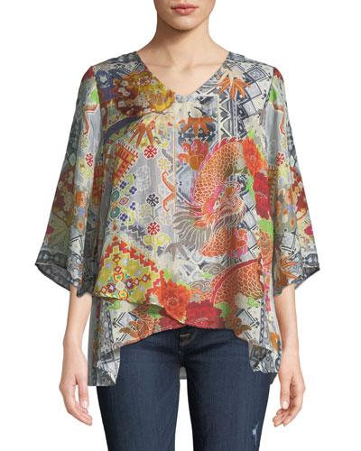 Dralion Printed Silk V-Neck Top, Plus Size