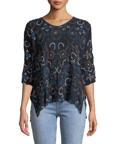 Harper Embroidered 3/4-Sleeve Top, Plus Size