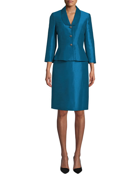 ALBERT NIPON Faux Silk Two-Piece Jacket & Skirt Suit Set in Blue
