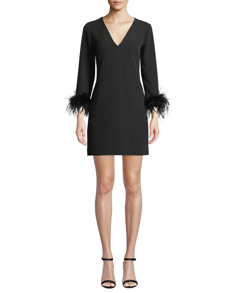 Nicole V-Neck Long-Sleeve Feather-Cuffs A-Line Mini Dress in Black