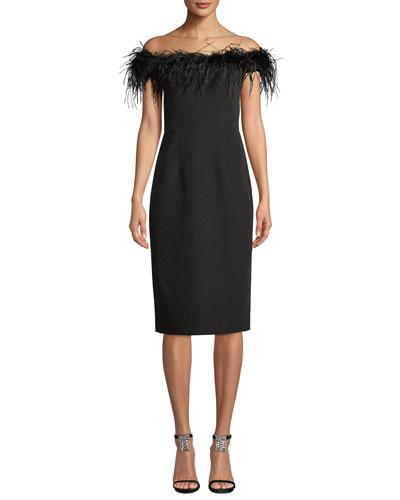 Elle Feather Boat-Neck Sleeveless Italian Cady Sheath Dress