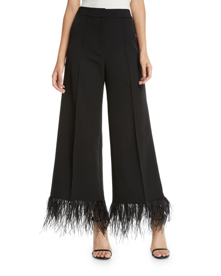 MILLY Hayden Wide-Leg Italian Cady Cropped Pants W/ Feather Hem in Black