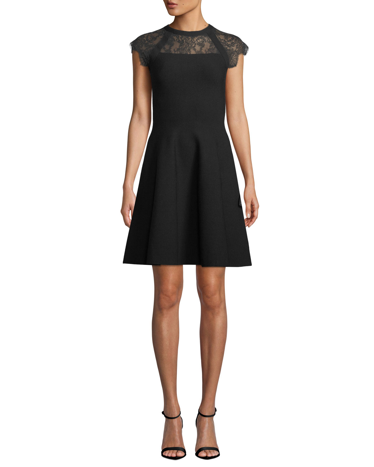 Milly Lace Yoke Cap Sleeve Fit And Flare Short Dress