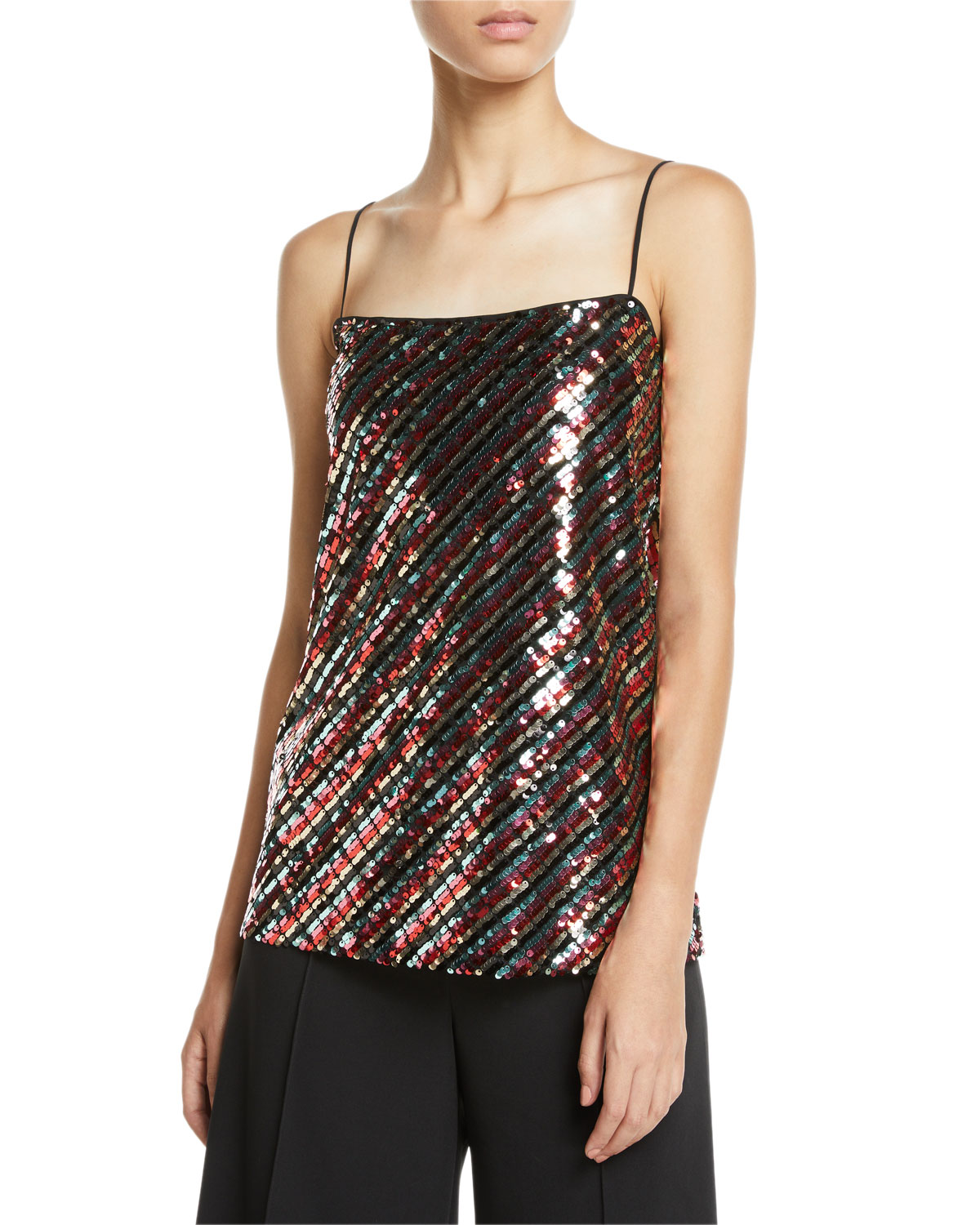 54ac9d5f40f84b Milly Striped Sequins Bias Camisole