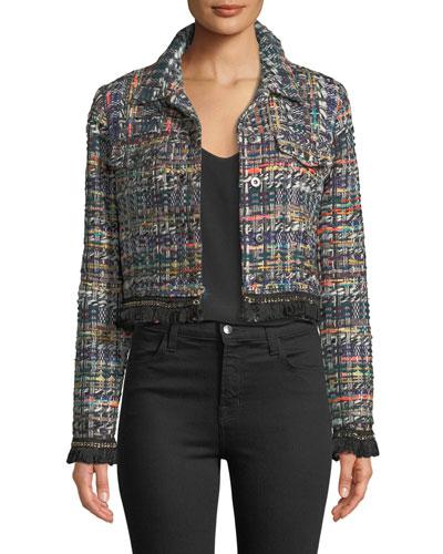 Button-Front Cropped Multicolor Tweed Jacket w/ Fringe Hem