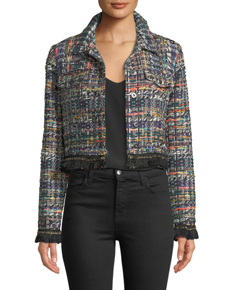 Milly Button-Front Cropped Multicolor Tweed Jacket w/ Fringe