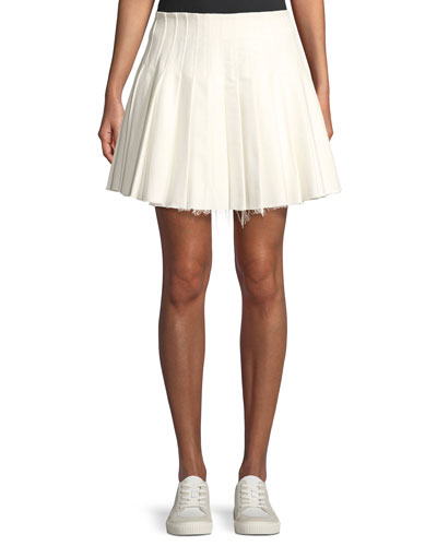 Perfect Day Pleated Frayed Mini Skirt