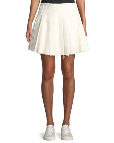 MAGGIE MARILYN PERFECT DAY PLEATED FRAYED MINI SKIRT