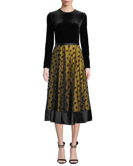 Catherine Deane LOUISA MIDI DRESS W/ VELVET & TULLE
