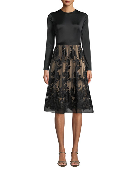 Catherine Deane Ling Long-Sleeve Dress w/ Lace Skirt & Sequins