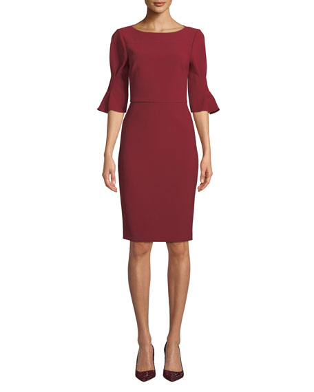Pinched-Sleeve Sheath Dress in Ruby