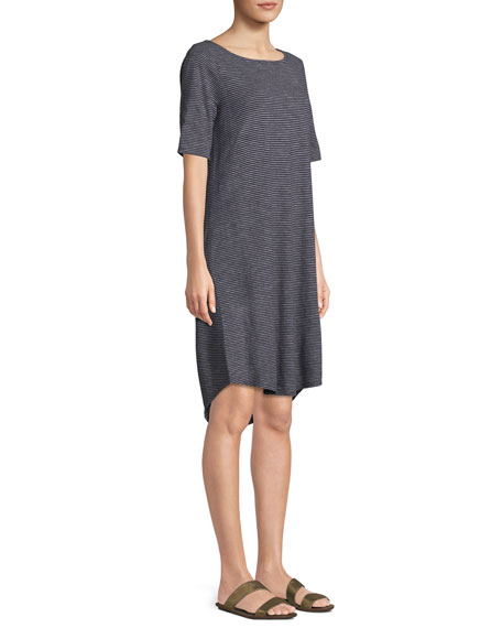 Striped Half-Sleeve Hemp-Blend Shift Dress