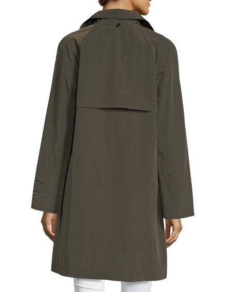 Button-Front Long-Sleeve Twill Midi Rain Coat w/ Bib