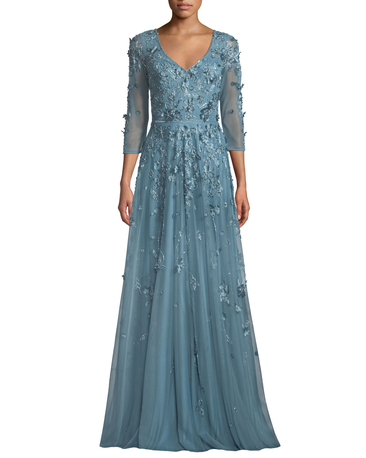 Theia Floral Tulle Applique V Neck Gown Neiman Marcus