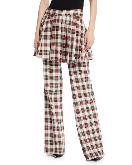She Is In Charge Skirted Wide-Leg Plaid Pants