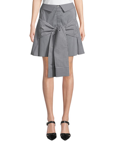 Crowd Pleaser Tie-Front Gingham Mini Skirt