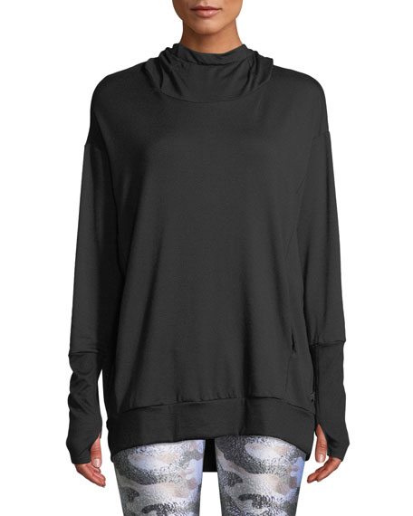 Hooded Cowl-Neck Sweatshirt