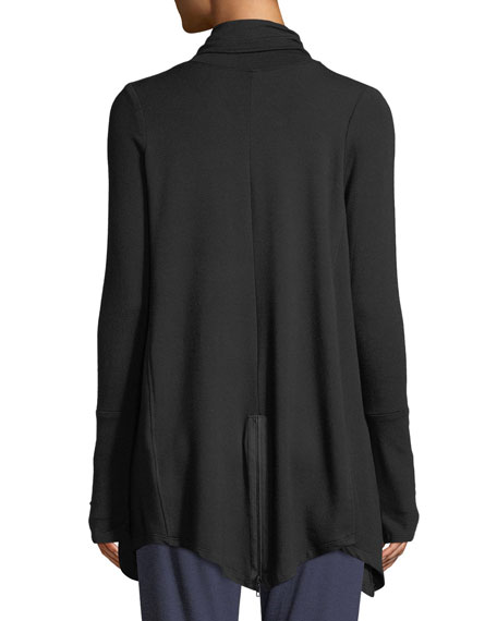 Draped French Terry Zip-Front Jacket