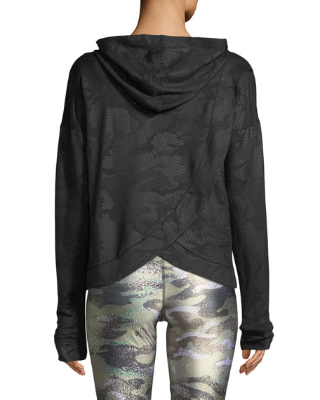 Camo Foil Printed Cross-Back Hoodie Sweatshirt