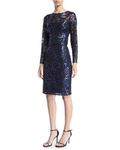 Sequin Swirl Long-Sleeve Dress