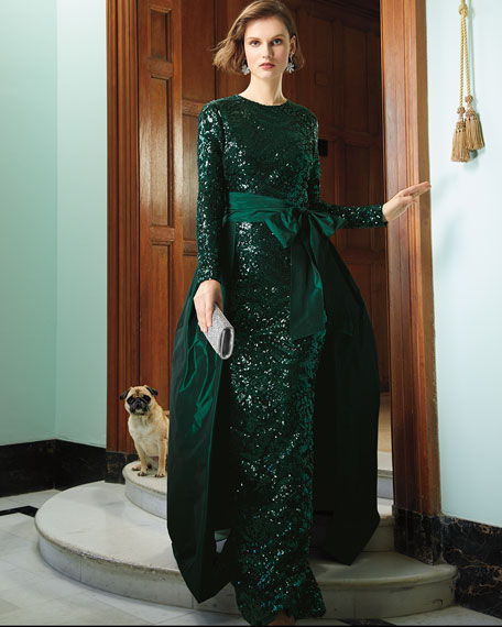 Long-Sleeve Sequin Gown w/ Taffeta Overlay