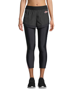 91283a3b7969 PE Nation Long Lift Two-in-One Performance Leggings with Shorts Overlay