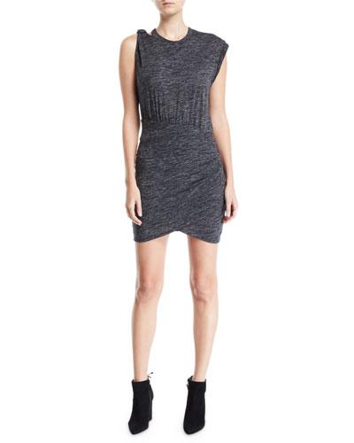 Plush Gathered Crewneck Short Dress