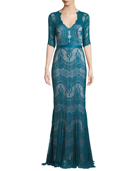 Catherine Deane KELLY TULLE & LACE ILLUSION GOWN W/ SWISS DOTS