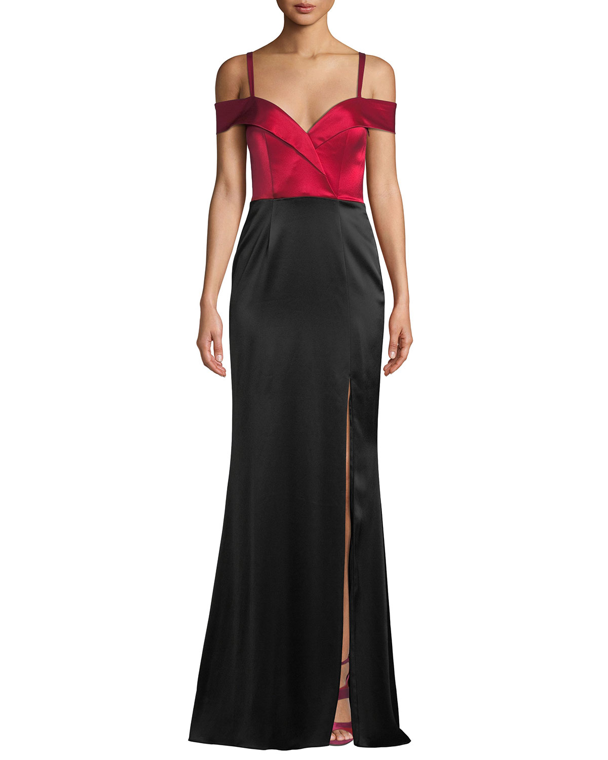 Catherine Deane Liza Off-the-Shoulder Colorblock Gown in Satin ...