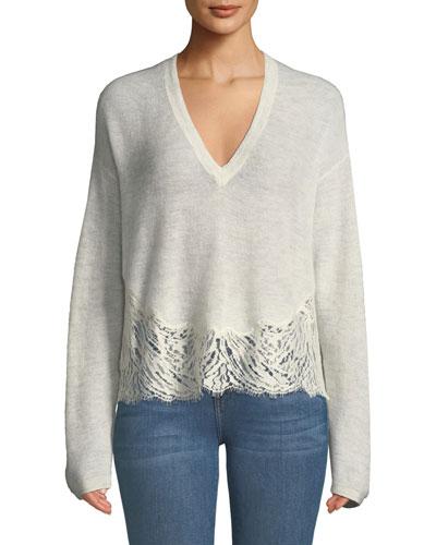 Hysteria Lace-Trim V-Neck Sweater