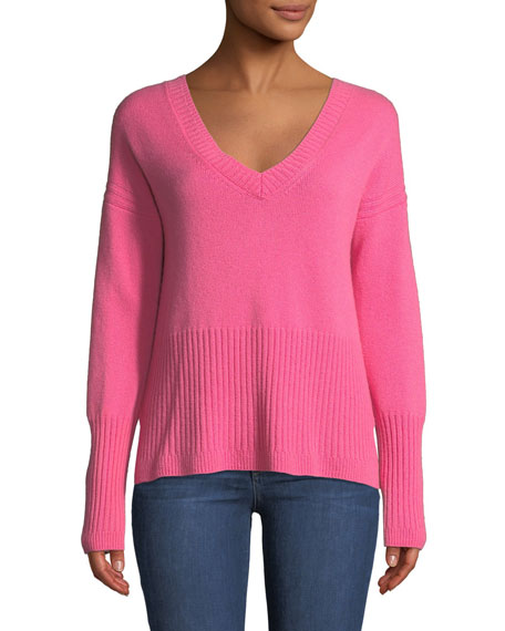 Melange Cashmere V-Neck Sweater in Pink