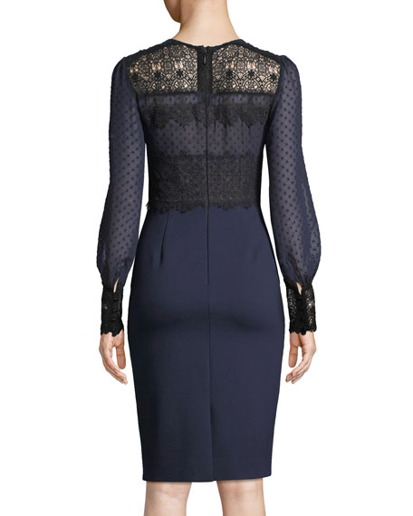 Lillian Sheer Dot & Lace Long-Sleeve Dress