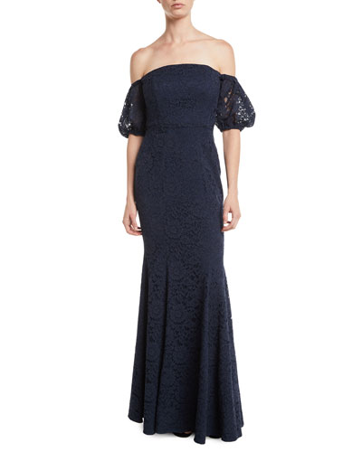 ZAC Zac Posen Vivienne Off The Shoulder Gown W Puff Sleeves