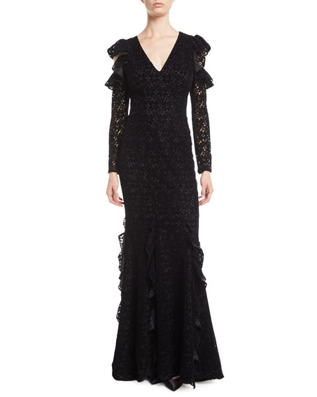 ZAC ZAC POSEN Carola Lace Gown W/ Cold Shoulders in Black